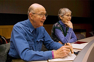 Longview residents Ted and Janet Buckley sit in on an aging studies class.