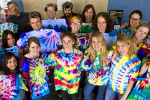 Chemistry and Art students pose with their tie-dyed creations.