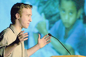 Craig Kielburger, founder of Free the Children, spoke to a recent first-year class.