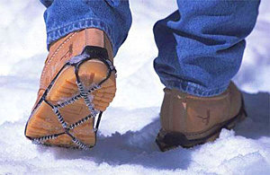 Traction cleats make negotiating ice and snow easier.