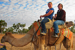Fellow IC student Dan Ophardt '09 and Meghan Swope '11 riding a camel while studying abroad in Australia.