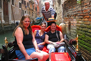 In a gondola with family in Venice.
