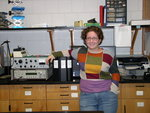 Kelly Sowers (Chemistry '09) with her 3 binders of data (Summer Research 08