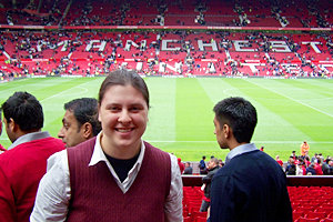 Maura Gladys '11 at the Manchester Derby between Manchester United and Manchester City at Old Trafford. Gladys attended the match courtesy of Ithaca alum and owner of Manchester United, Malcolm Glazer. Photo courtesy of Maura Gladys '11
