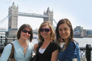 Meg Malone '11, Karla Berberich '11, and Mykal Urbina '11 at the Tower Bridge. Photo courtesy of Mykal Urbina '11