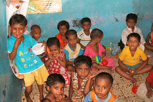 Up to 100 children are educated in a small room at the ADAPT school location in Dharavi. Photo courtesy of Meghan Kelly '13