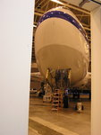 The view from the FORCAST lab at DAOF: SOFIA parked in the hangar.