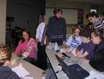 Students learning the biomechanics of artificial limbs