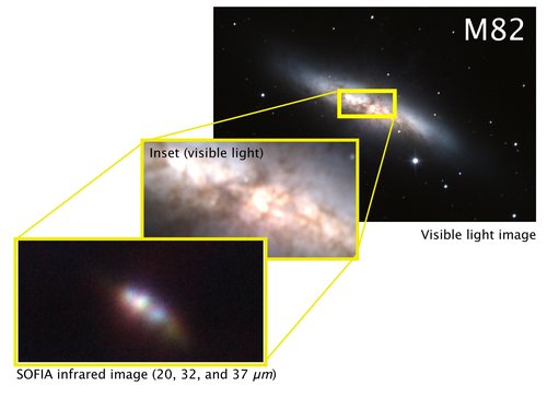 SOFIA/FORCAST image of the galaxy M82