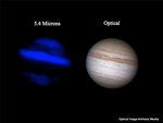Infrared and visible light image of Jupiter