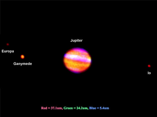 SOFIA/FORCAST image of Jupiter adding the three infrared