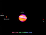 Infrared false color image of Jupiter