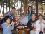 Drinking Hainan beer with friends