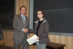 Kayla Reopelle, semifinalist accepts congratulations from Professor Michael Whelan