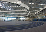 The indoor track at the Athletics and Events Center.