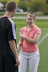 Shannon Walton '04 works with a college soccer player