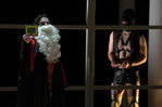 Peter Gray '07 as Feste and Casey Sweeny '06 as Malvolio