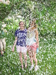 Shower of petals for Allie and Louisa