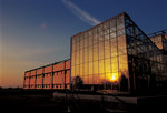 Center for Natural Sciences, sunset reflected