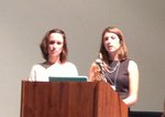 Rebecca Post and Stephanie Miller presenting