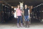 Tina Caswell and Maritsa Sherenian pose with horse