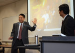 Ithaca College professor Hongwei Guan (left) and Chengdu Sport University professor Hao Qin
