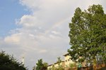 rainbow during orientation over residence hall buildings