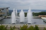 A view of Cayuga Lake beyond the fountains.