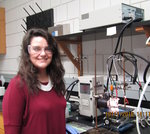 Angela Asala (Chemistry '16) working at an analytical chemistry laboratory.