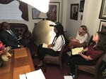 Students interviewing The Rev. Dr. James Netters