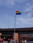 pride flag over campus center