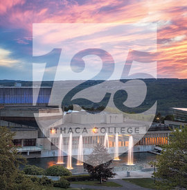 125 Years logo over an image of Dillingham Fountains at sunset.