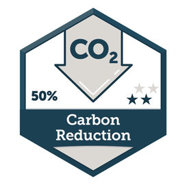 50% Carbon Reduction seal from Second Nature
