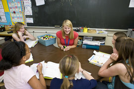A Childhood Education graduate student teaching in a local-area classroom