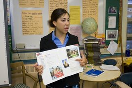 A Spanish teacher education major instructs students at Frederick Douglass Academy in Harlem.