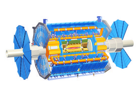 A computer-generated detailed view of the ATLAS detector. ATLAS Experiment © 2013 CERN.