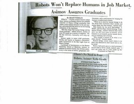 A copy of the article about Isaac Asimov's remarks to Ithaca College graduates in 1983.