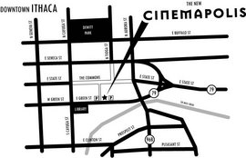 A map of Cinemapolis on the Ithaca Commons