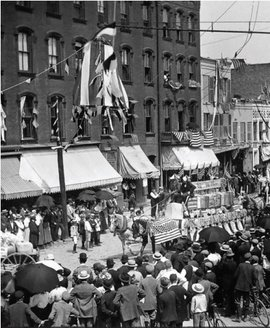 A parade on Aurora and State Street, circa 1900. Photo courtesy of the Tompkins County Clerk's Office