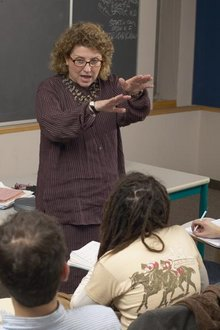 A professor leads a classroom discussion.