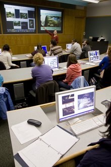 A professor teaches in the Keck Advanced Visual Studies classroom.