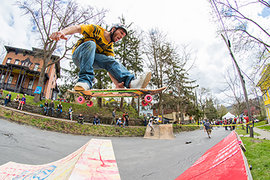 A skateboarder gets some air at the fifth annual Skate Jam. Photo by Giovanni Santacroce