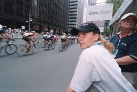 A student intern working at a pro cycling race in New York City.