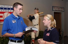 A student intern working at the National Baseball Hall of Fame and Museum.