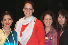 A traditional Kattack Indian dancer, Meghan Kelly �13, Hannah Siebold �10, and assistant professor Denise Nuttall. Photo courtesy of Meghan Kelly