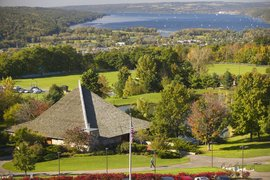 A view of Ithaca and Cayuga Lake from campus, situated on South Hill.