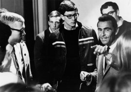 A young Bill D�Elia �69 takes direction from Rod Serling.