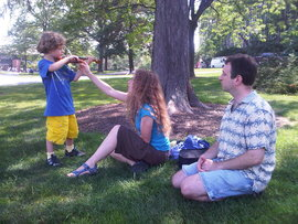 A young family feels the joy of learning on the IC Quad
