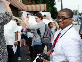 Aaron Edwards '12 on the beat during an internship in Atlanta, GA.