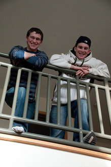 Alex Proujansky '11 (left) and Erik Lyons '11 share an apartment in the Circles and have been roommates since freshmen year in the Towers.